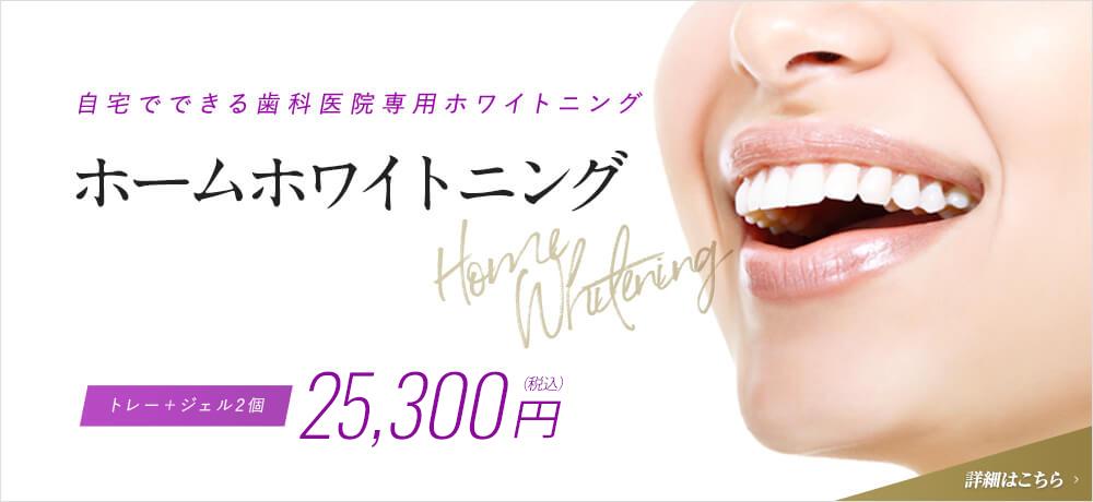 自宅でできる歯科医院専用ホワイトニング ホームホワイトニング Home Whitening トレー+ジェル2個 23,000円(税抜)